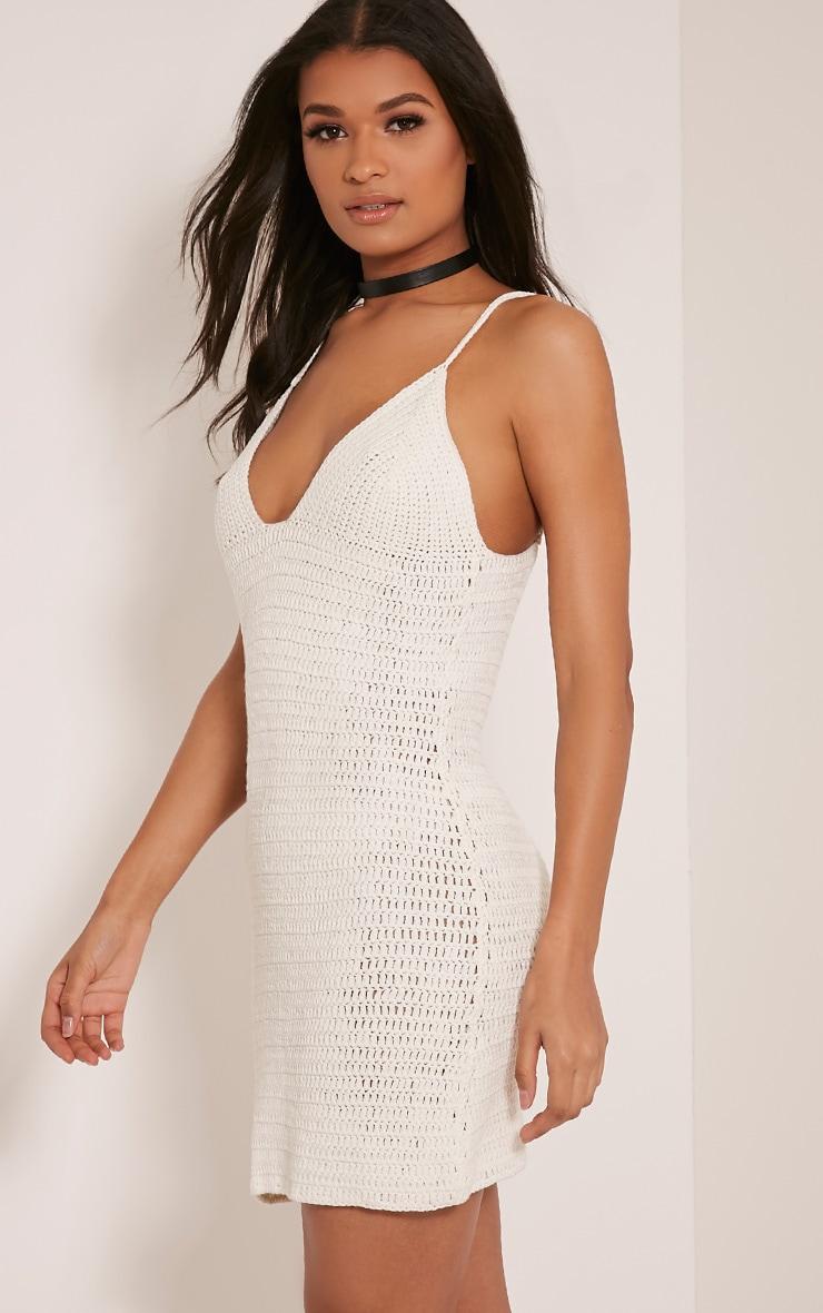 Rosally Cream Crochet Mini Dress 4