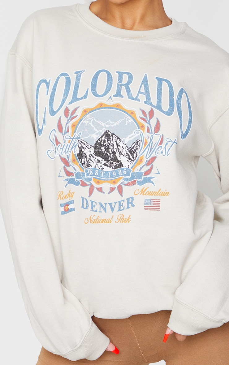 Pull fauve à slogan Colorado 4