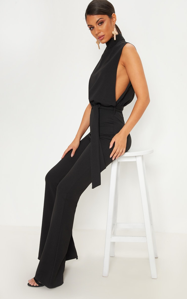 Black Scuba High Neck Tie Waist Jumpsuit 4