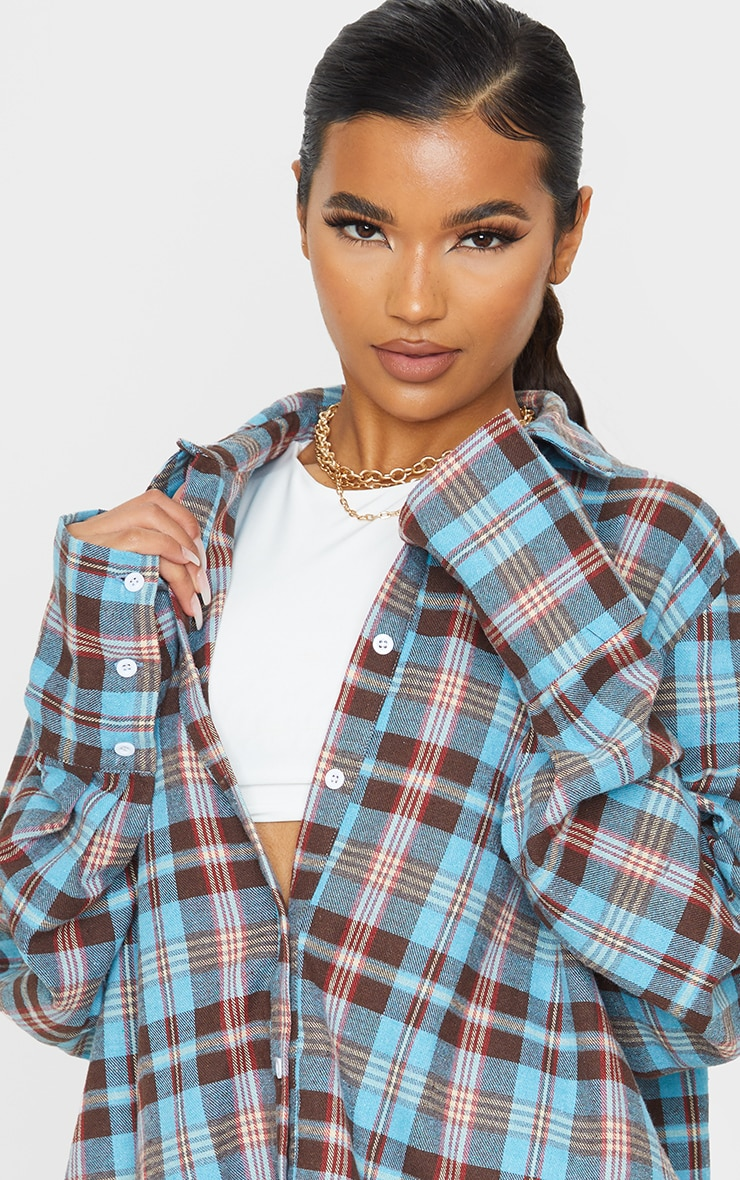 Baby Blue Tartan Checked Flannel Pocket Detail Oversized Shirt 5
