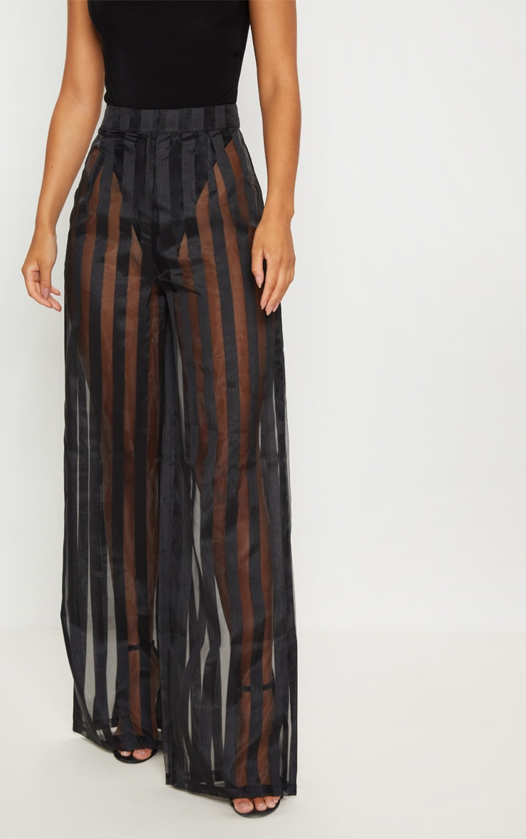 Black Sheer Stripe Wide Leg Trouser 2