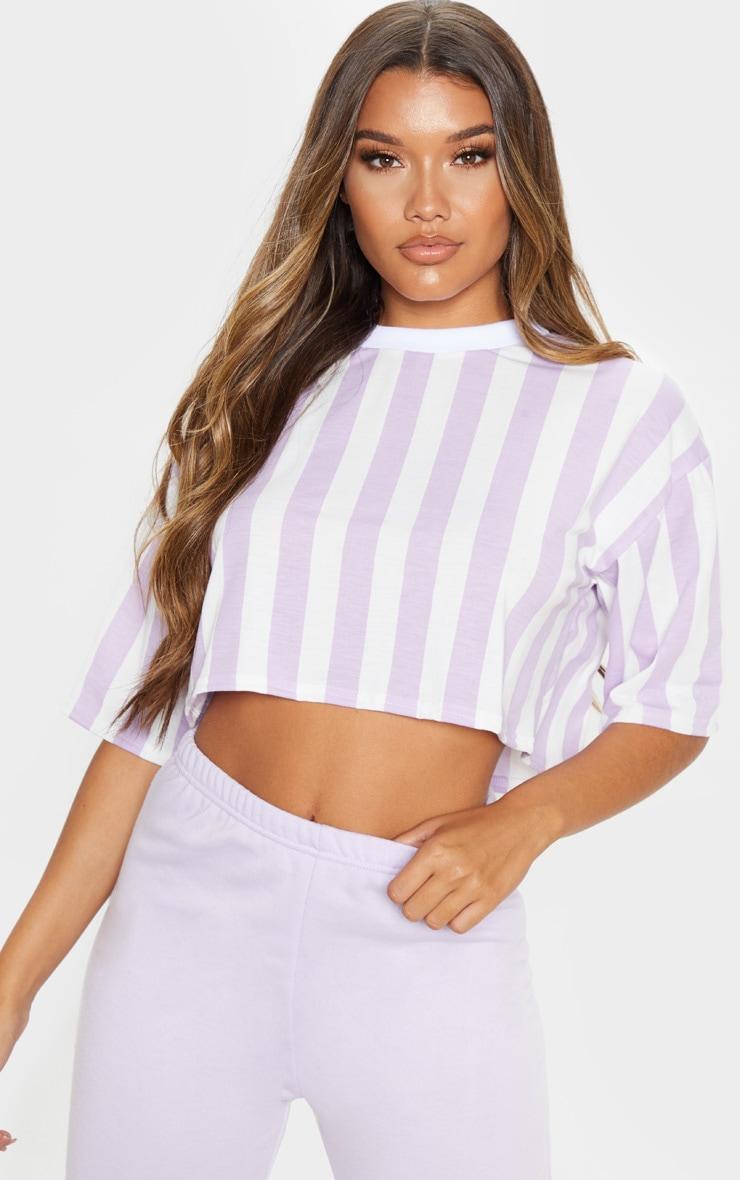 Lilac Stripe Crop T Shirt 1