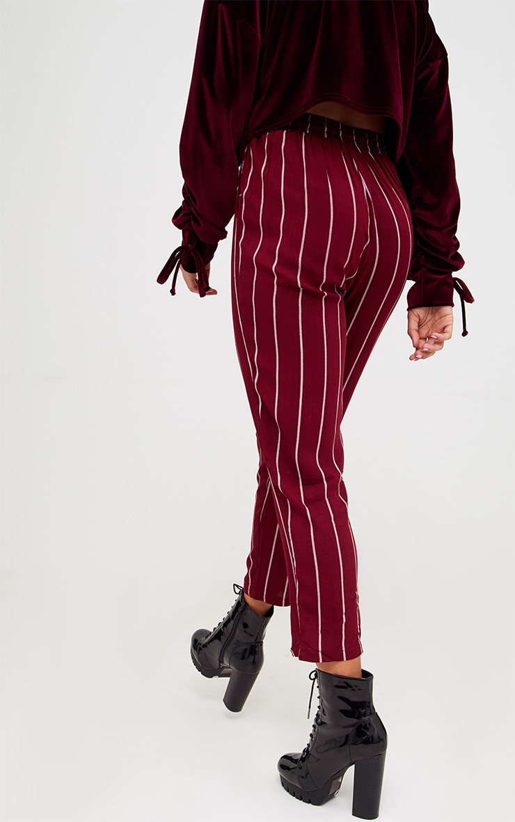 Burgundy Pinstripe Casual Trousers 4
