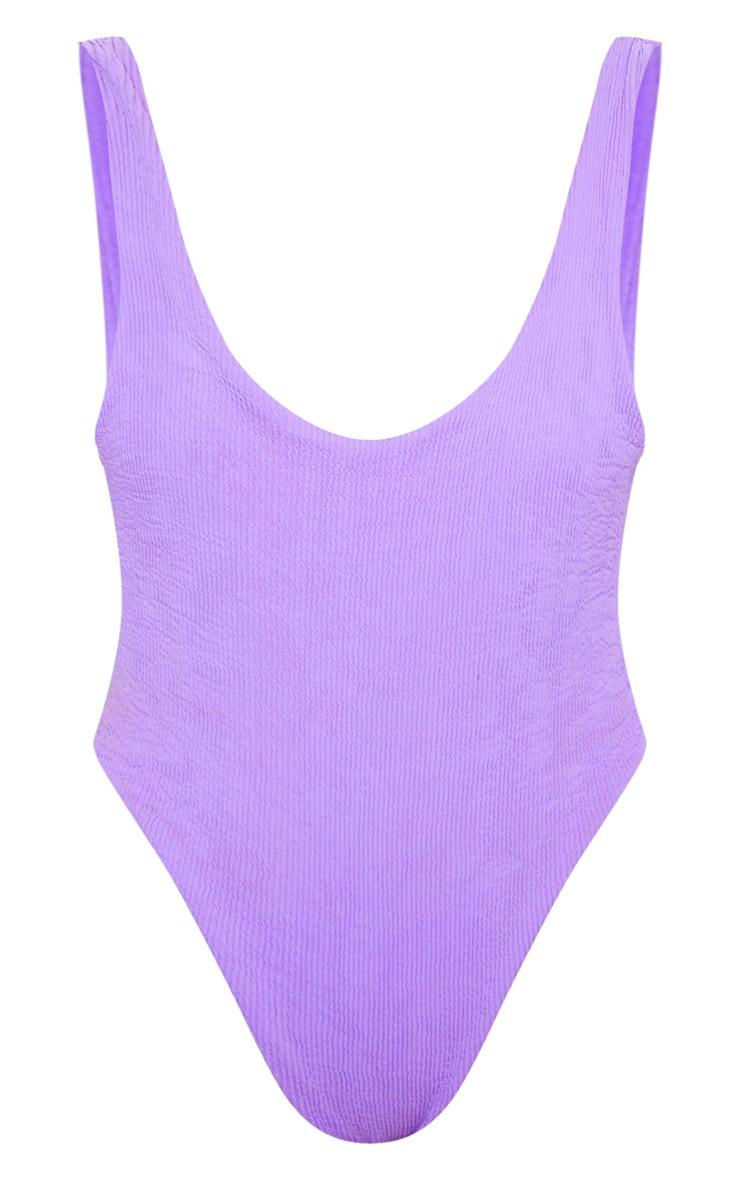 Purple Crinkle High Leg Swimsuit 7
