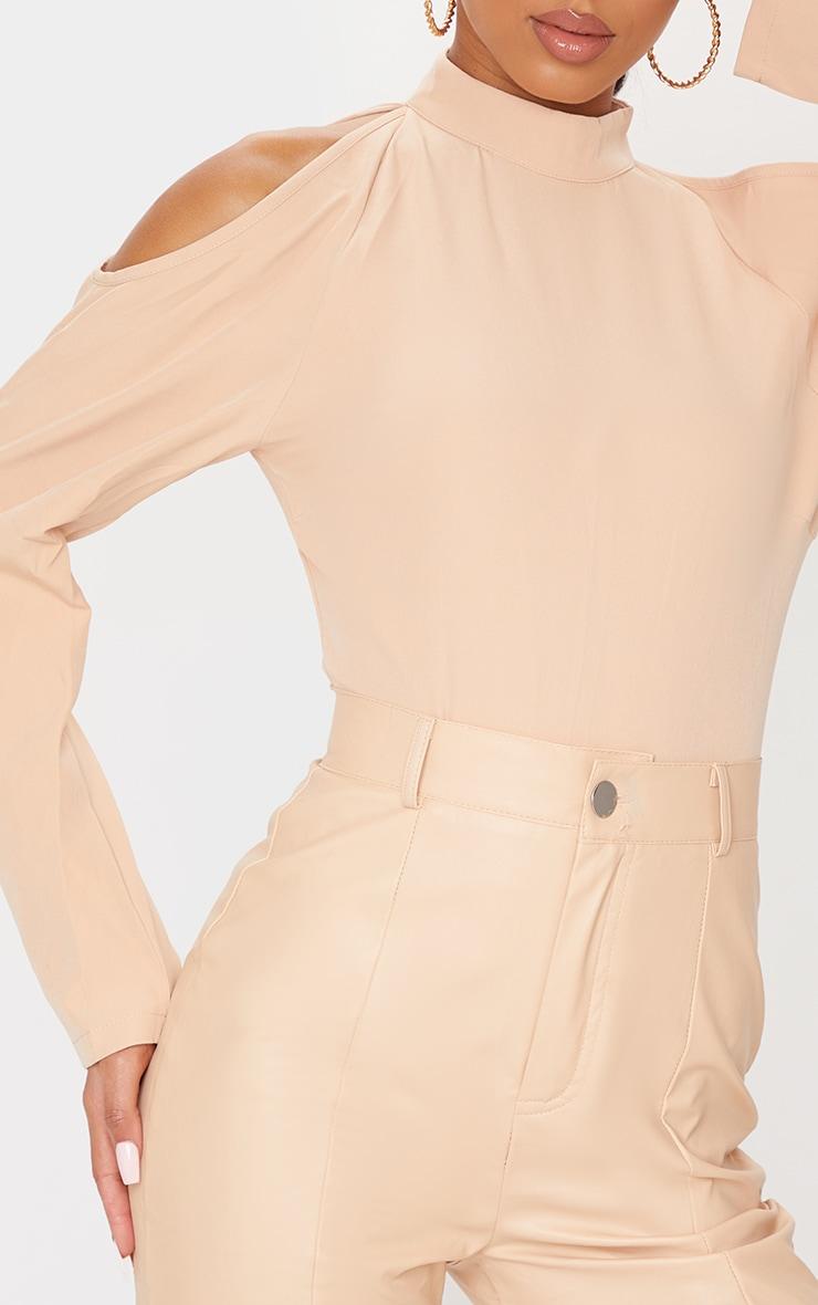 Nude Woven Cold Shoulder High Neck Bodysuit 4