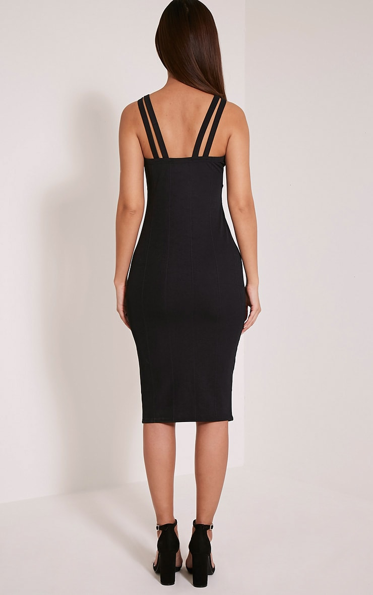 Kalle Black Bandage Detail Strappy Cup Midi Dress 2
