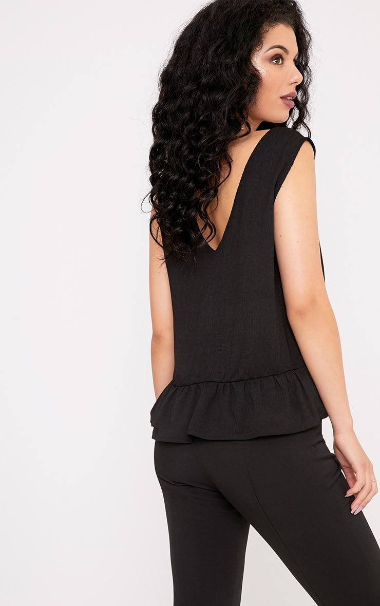 Angelina Black Woven V Back Plunge Frill Blouse 2