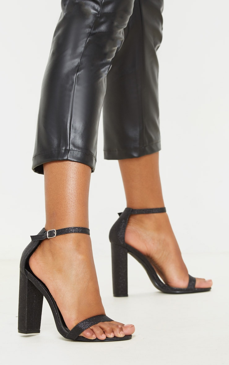 Black Glitter May Heeled Sandals 1