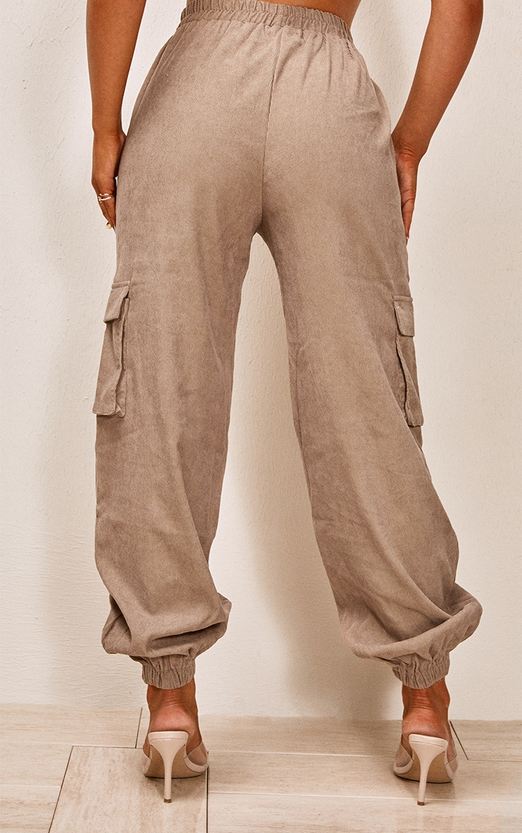 Taupe Cord Pocket Detail Cargo Pants 3