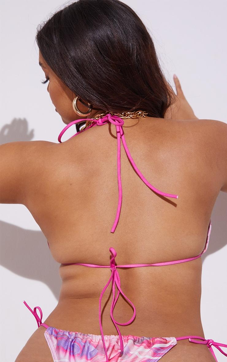 Plus Pink Swirl Print Triangle Bikini Top 2
