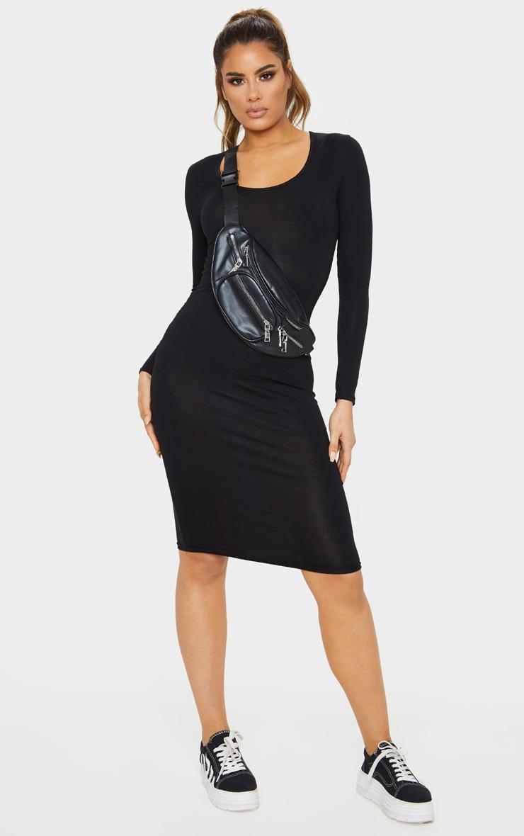 Tall - Robe mi-longue noire à manches longues 1