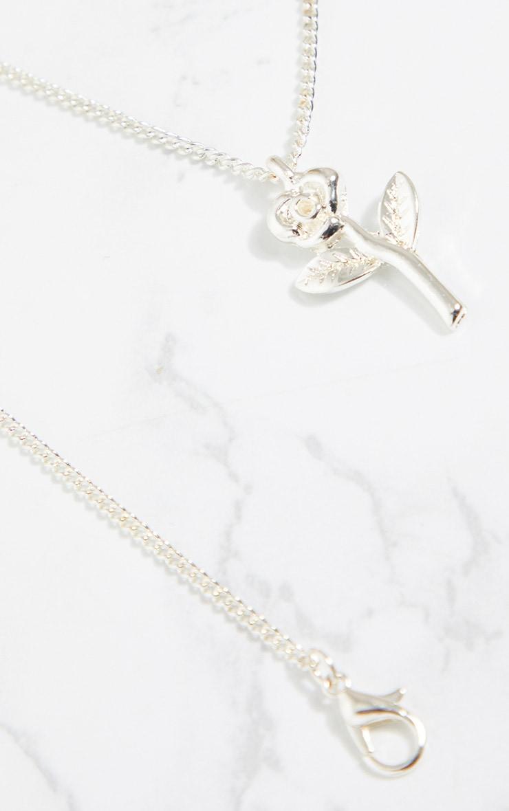 Silver Rose Pendant Necklace 4