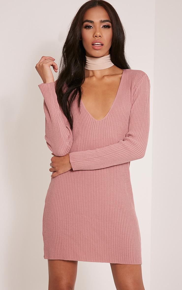 Navella Rose Deep V Knitted Jumper Dress 1