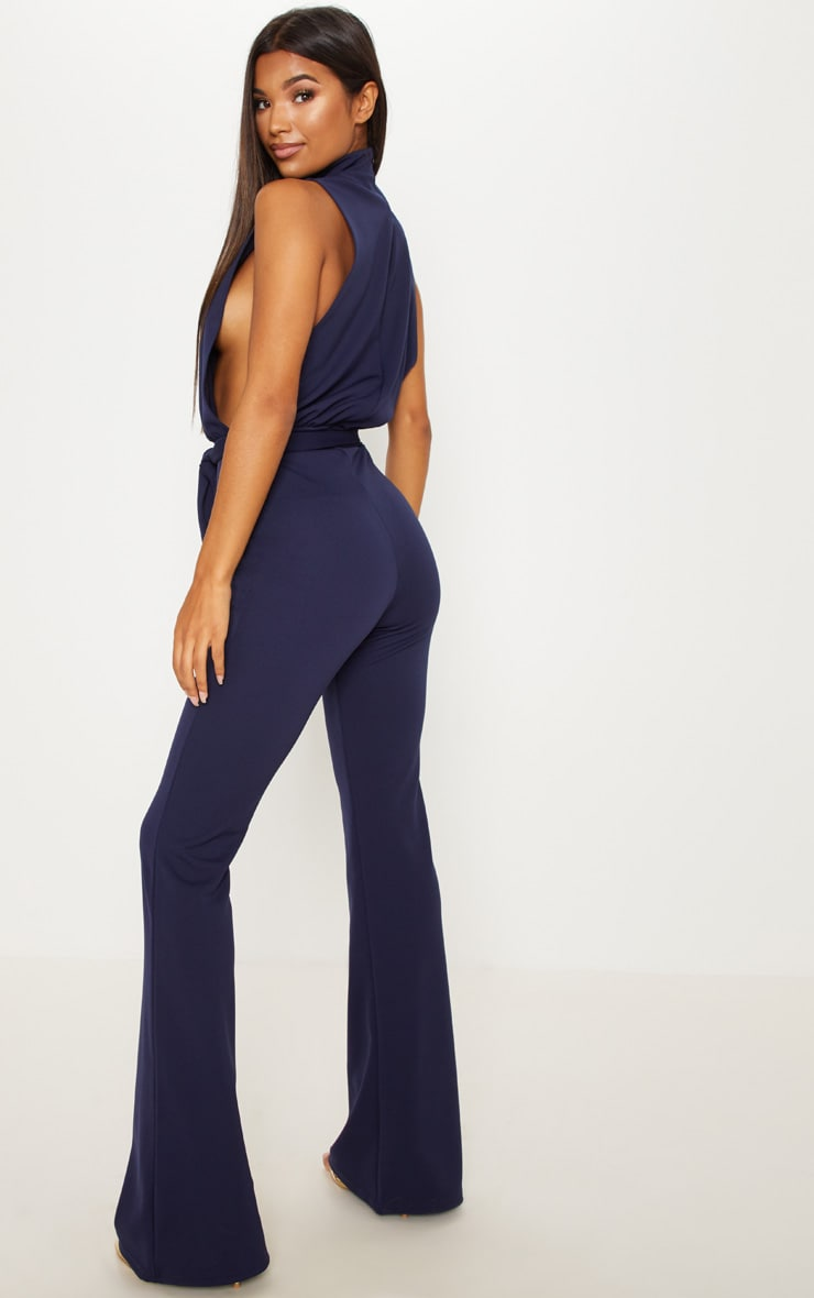 Navy Scuba High Neck Tie Waist Jumpsuit 2