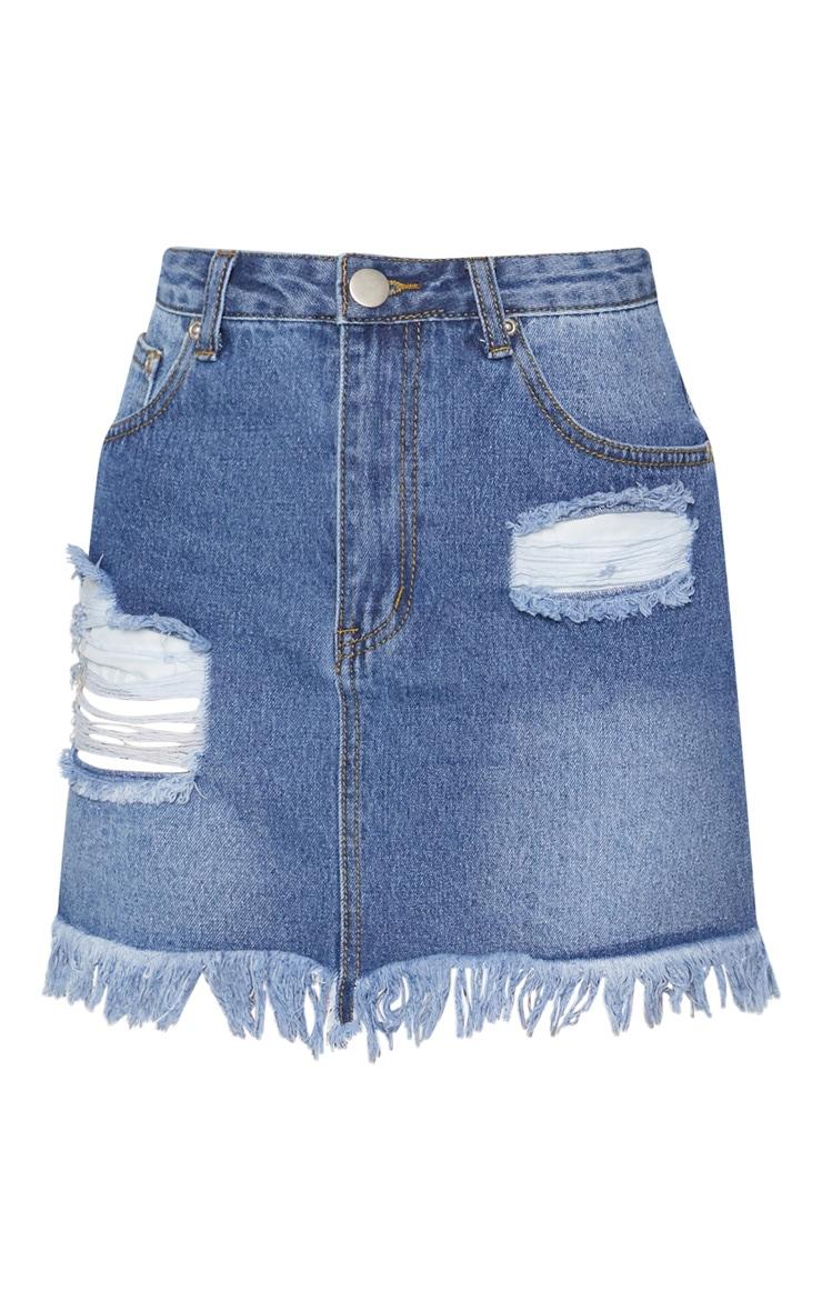 Mid Wash Denim Distressed Hem Midi Skirt 3