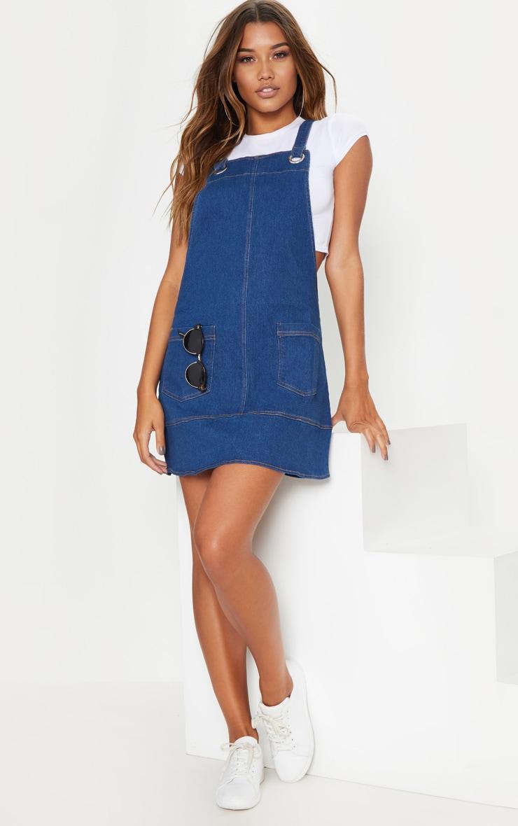Mid Wash Pinafore Dress  1