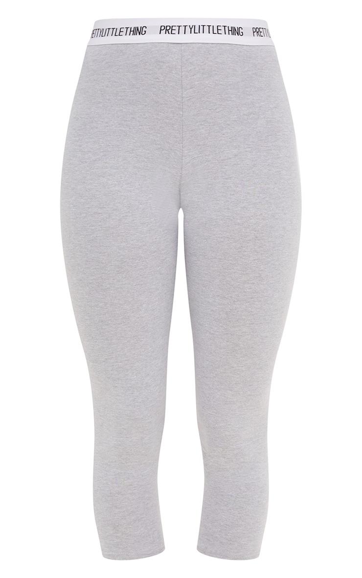 PRETTYLITTLETHING Grey Marl Cropped Leggings 3