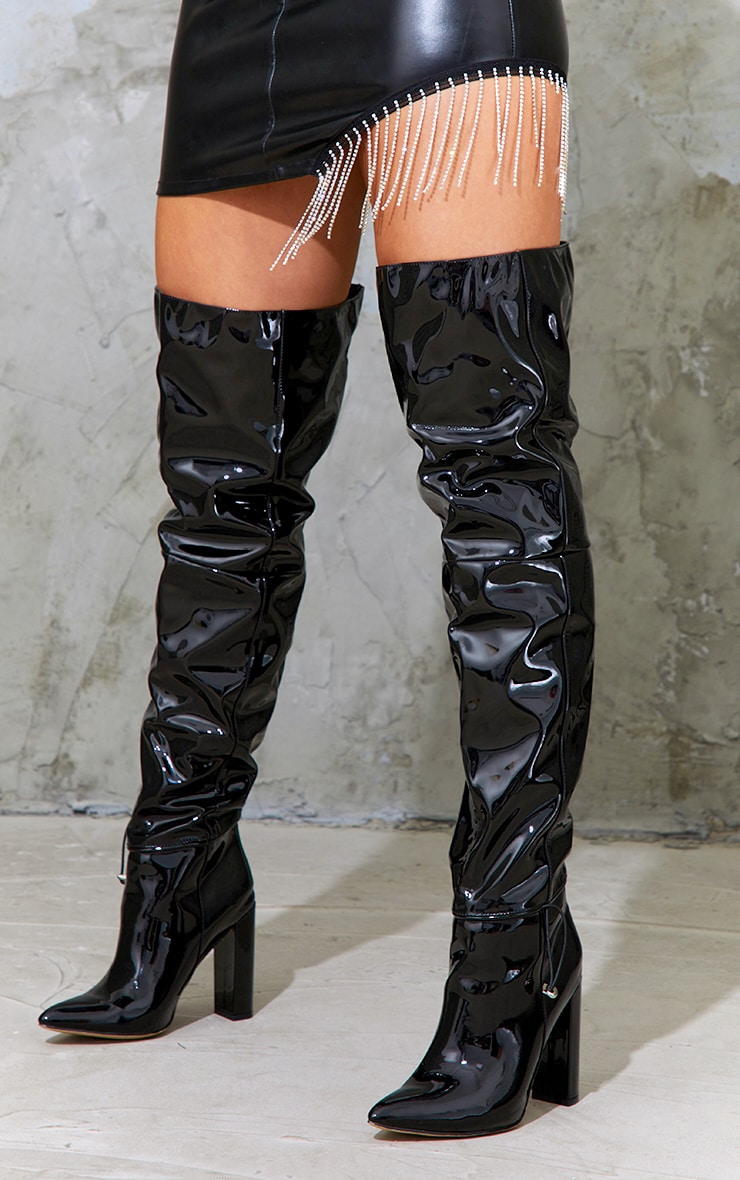 Black Pu Pointed Over The Knee High Heeled Boots 1