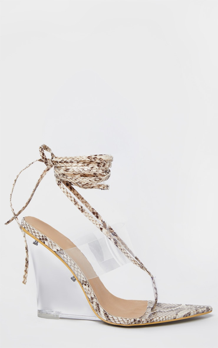Snake Print Clear Wedge Point Toe Thong Sandals 3