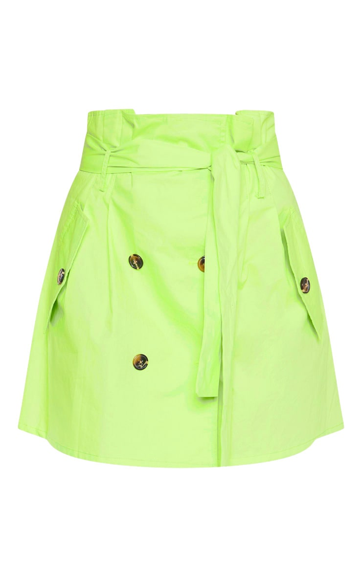 Lime Trench Tie Waist A line Mini Skirt 3