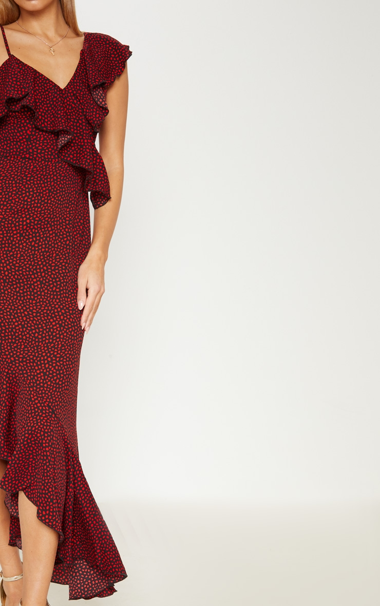 Burgundy Polka Dot One Shoulder Asymmetric Hem Maxi Dress 5