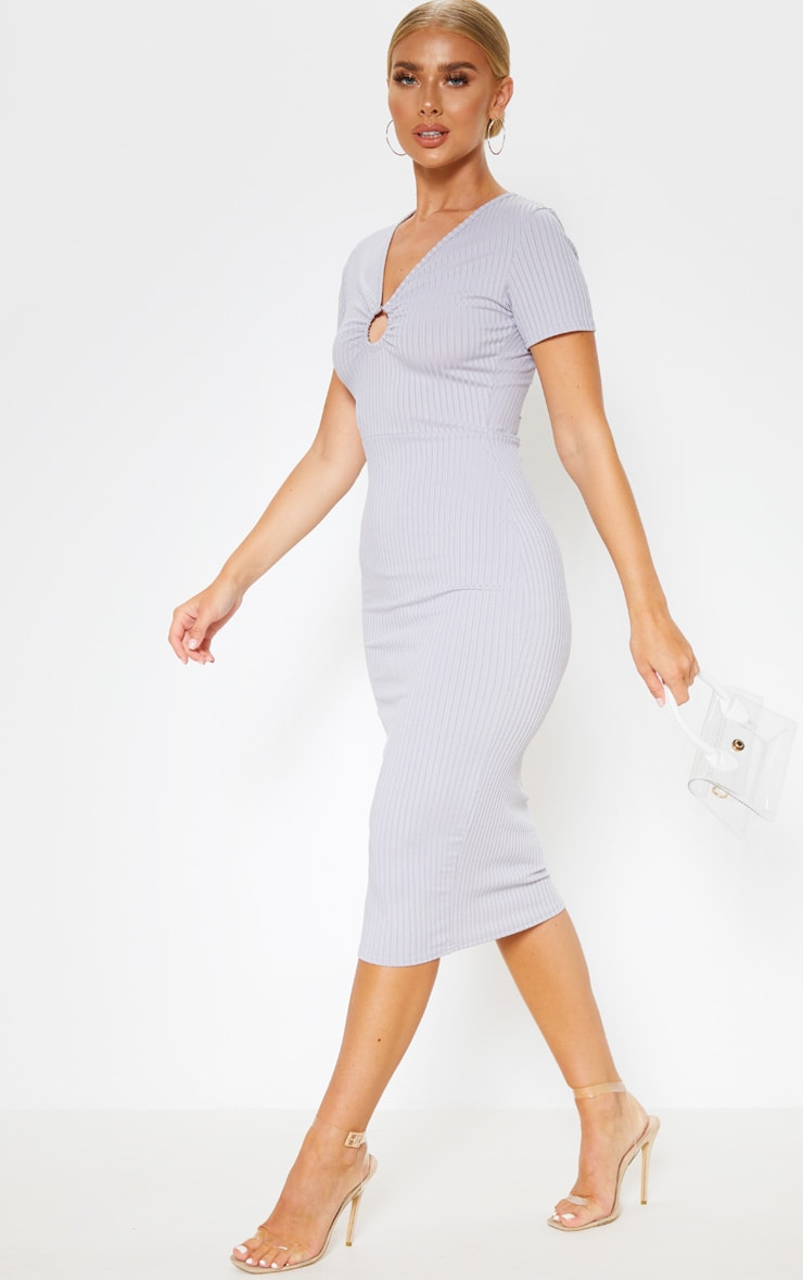 Grey Ribbed Short Sleeve Ring Detail Midi Dress 4