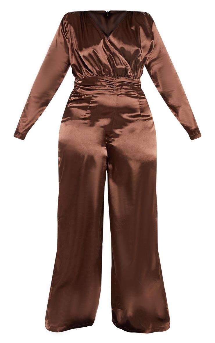 Plus Chocolate Brown Satin Ruched Waist Jumpsuit  3