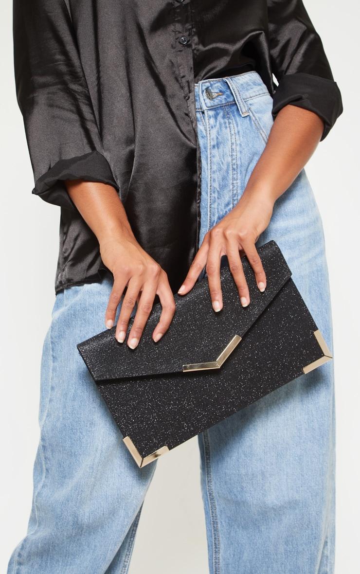 Black Glitter Metal Trim Large Envelope Clutch Bag 1