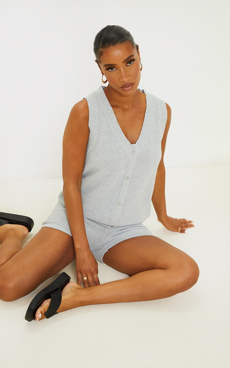 Recycled Light Grey Knitted Button Up Vest Set 3
