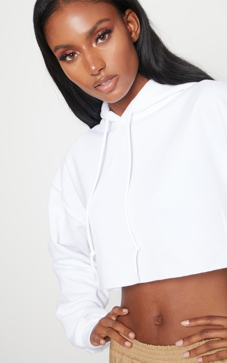White Ultimate Oversized Crop Hoodie  5