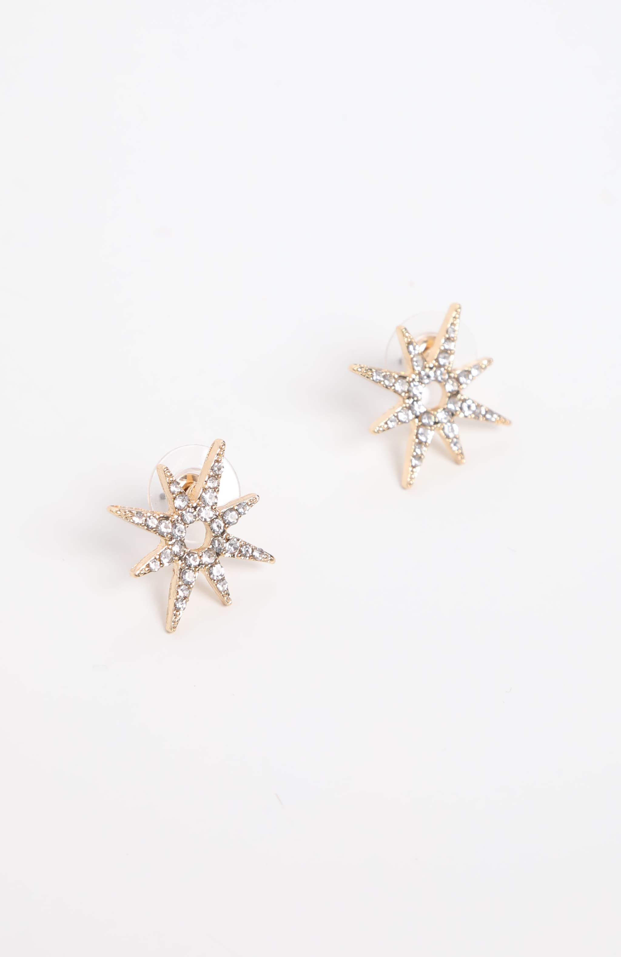 Gold Star Diamante Stud Earrings 2