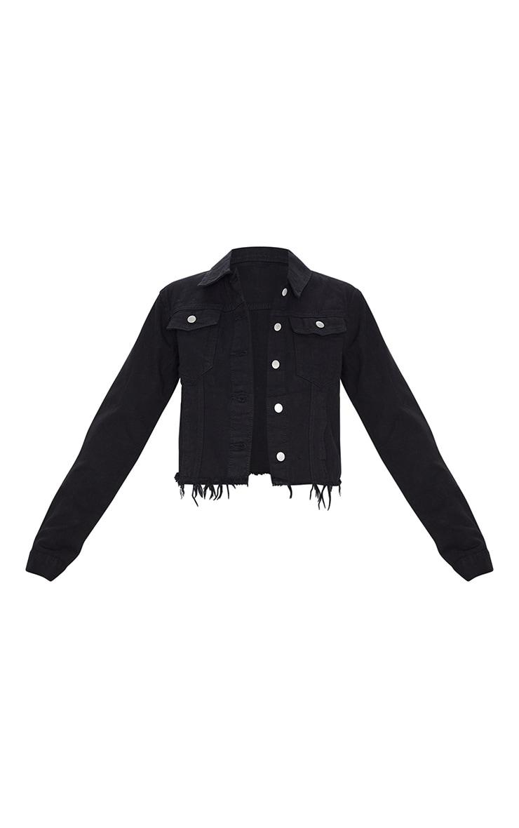 Black Basic Raw Hem Cropped Denim Jacket 5