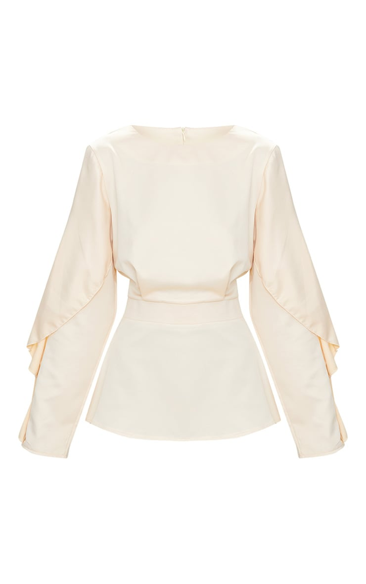 Nude Satin Frill Sleeve Fitted Blouse  3