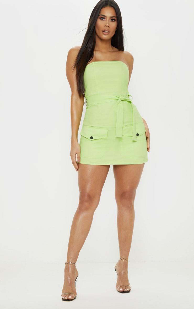Robe bandeau moulante vert citron style cargo à poches frontales 4