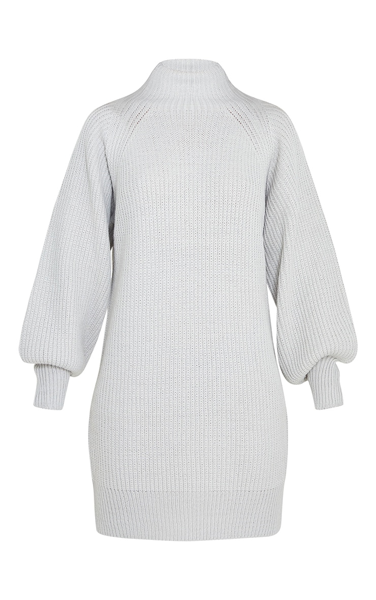 Light Grey Balloon Sleeve Funnel Neck Sweater Dress 5