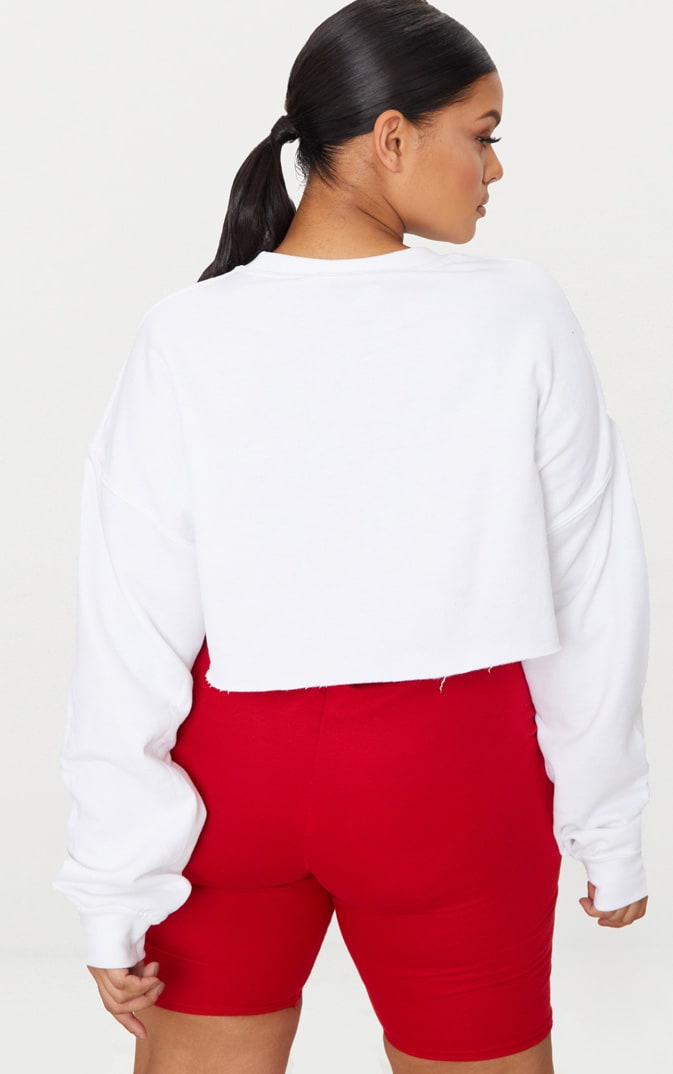 Plus White Los Angeles Extreme Cropped Sweater 2