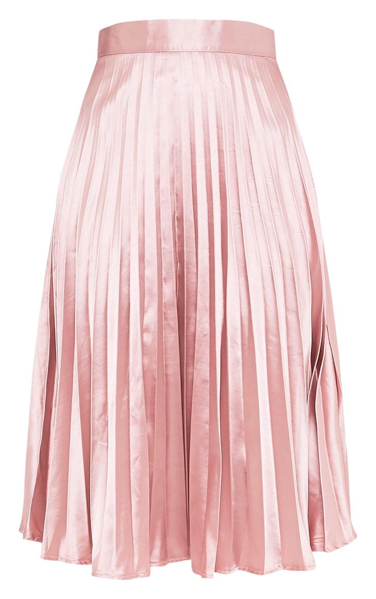 Harmonia Blush Satin Pleated Midi Skirt 3