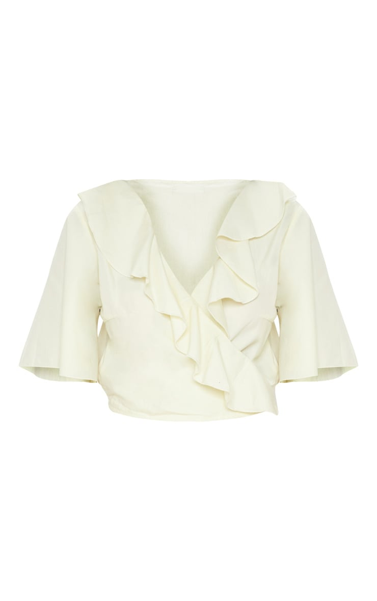 Pale Yellow Frill Wrap Front Crop Blouse 3
