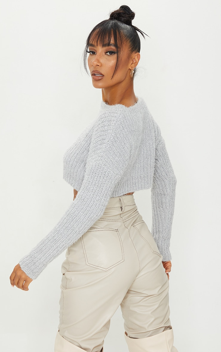 Grey Fluffy Chenille Crop Jumper 2