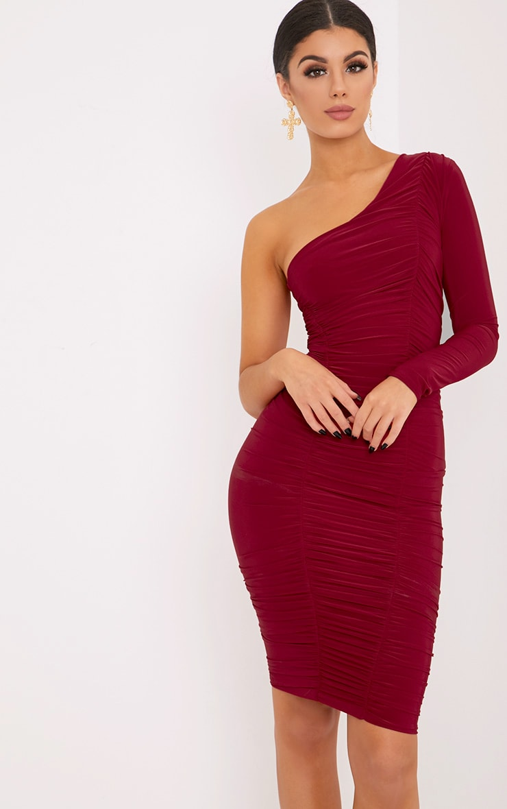 Skylar Red Slinky Ruched One Shoulder Midi Dress 1