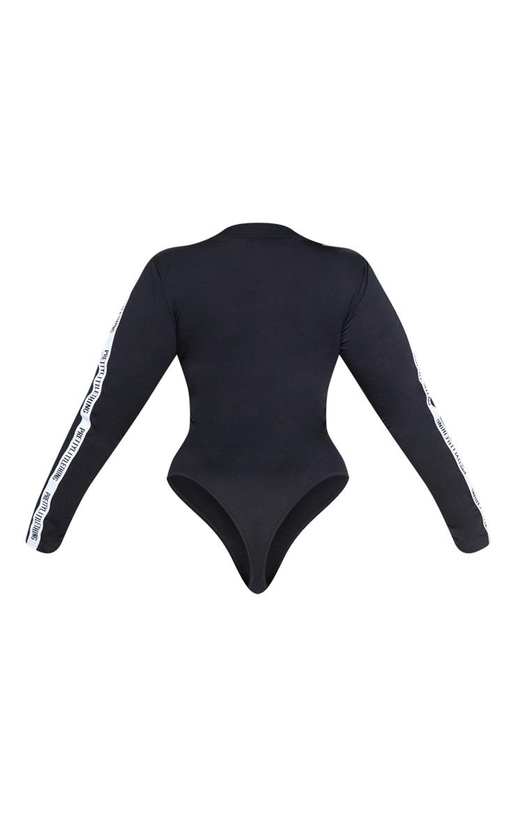 PRETTYLITTLETHING Plus Black Long Sleeve Bodysuit  4