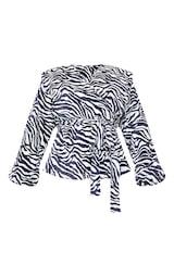 Black Zebra Print Shoulder Pad Wrap Plisse Blouse 5