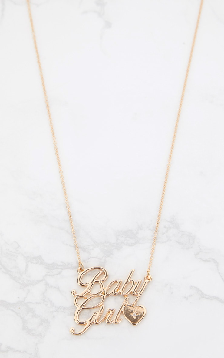Gold Baby Girl Slogan Heart Detail Necklace 3