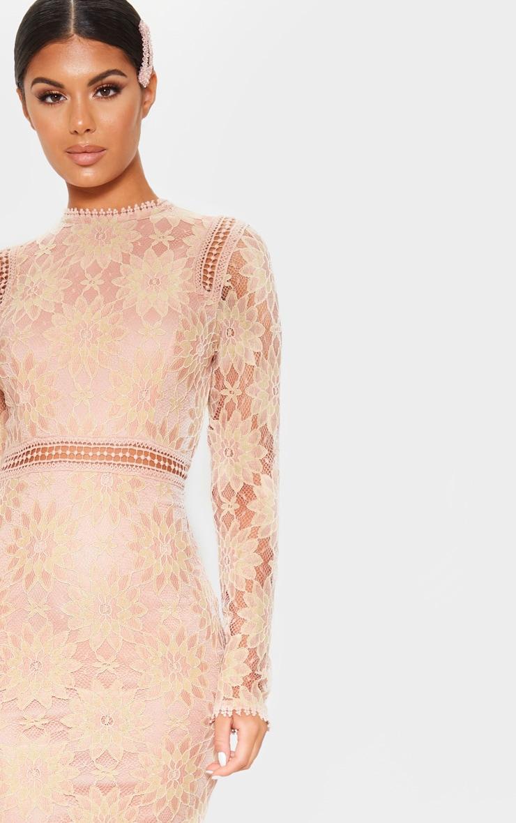 Dusty Pink Long Sleeve Lace Bodycon Dress 5