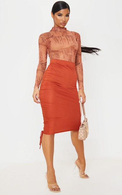 Rust Jersey Ruched Side Detail Midi Skirt