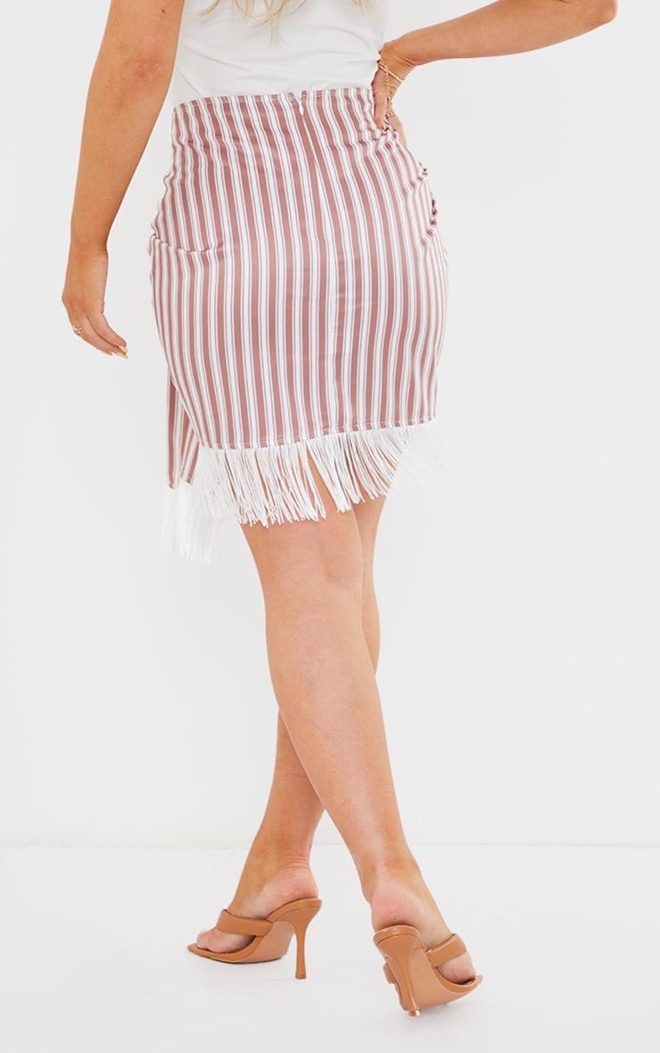 Clay Stripe Tassel Hem Mini Skirt 3