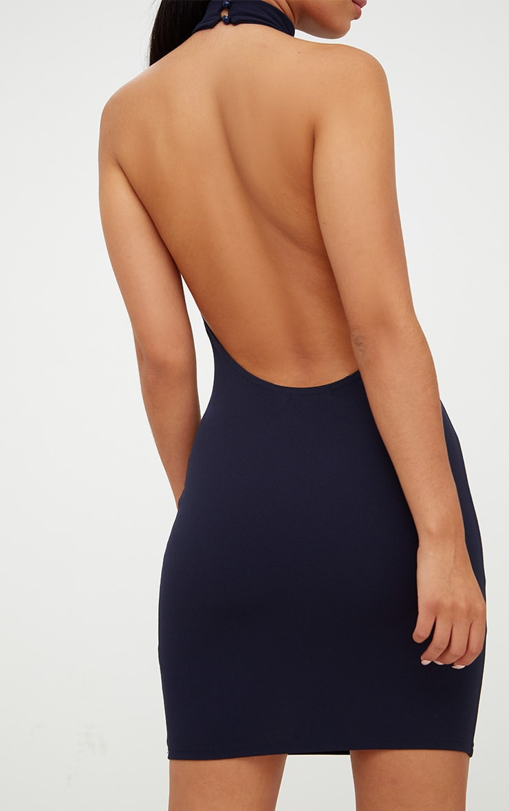 Navy High Neck Low Back Bodycon Dress 5
