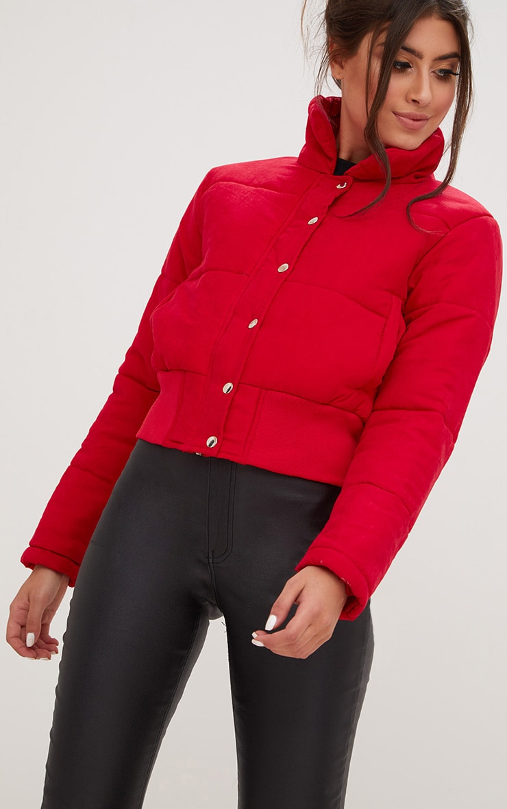 Red Peach Skin Cropped Puffer Jacket 4