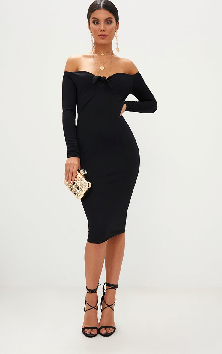 Black Bardot Tie Front Midi Dress 4