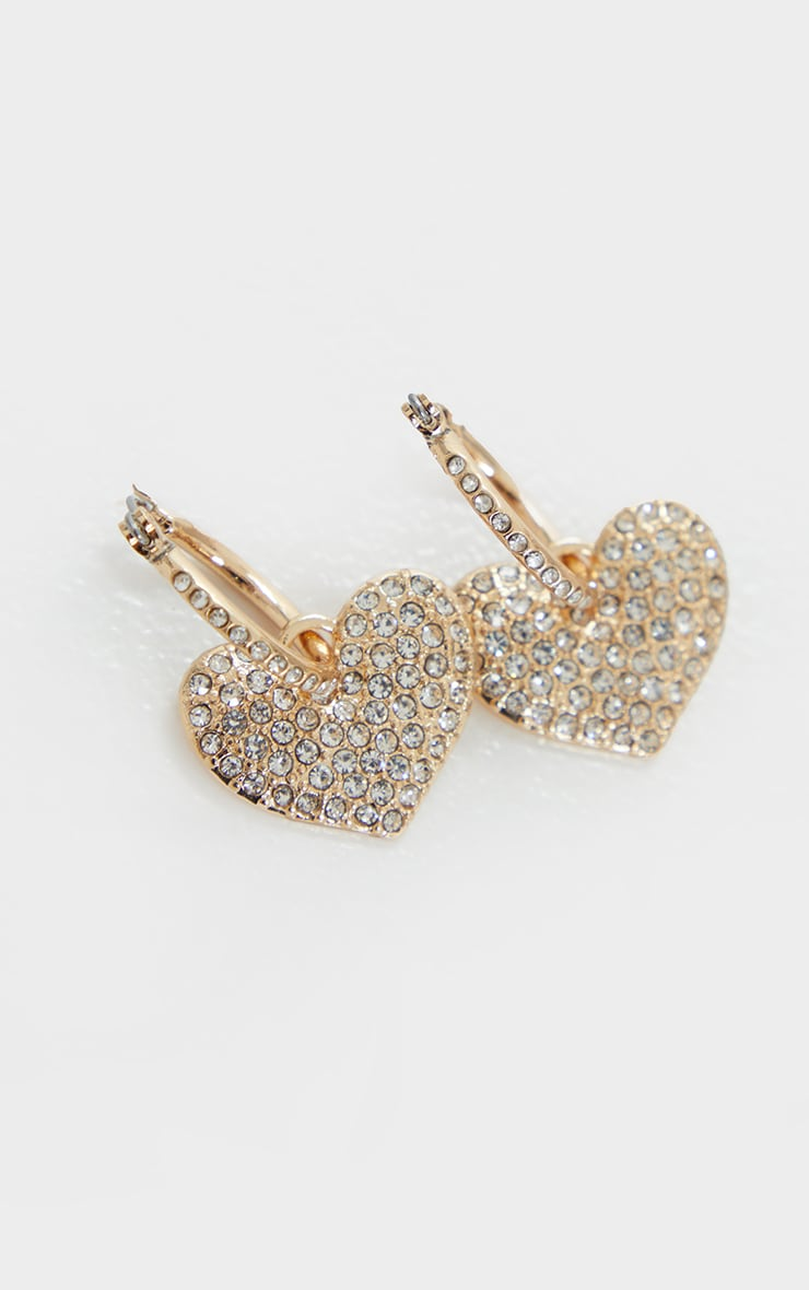 Gold Small Diamante Heart Hoop Earrings 2